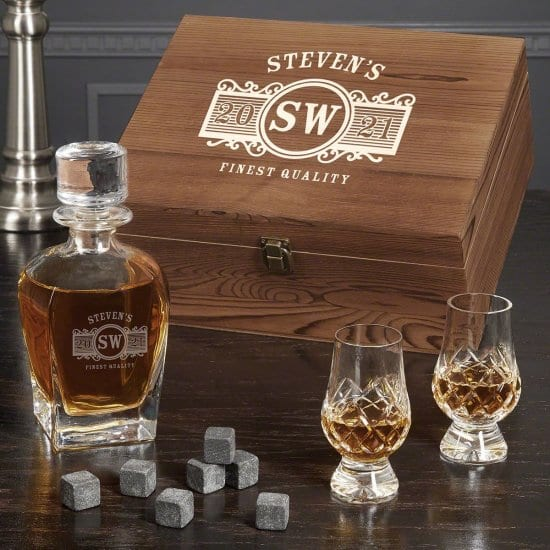 Personalized Decanter Box Set with Crystal Glencairn Glasses