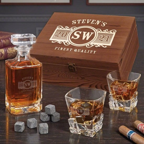 Personalized Box Set with Crystal Decanter and Glasses
