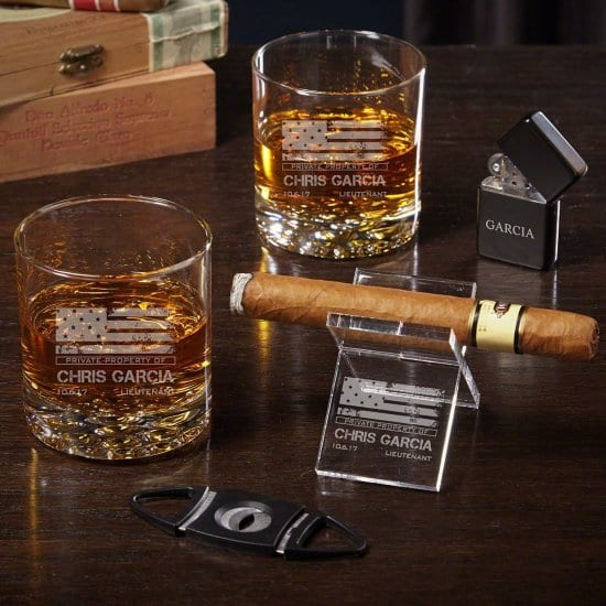 Custom Whiskey and Cigar Accessories Set Veterans Day Gifts