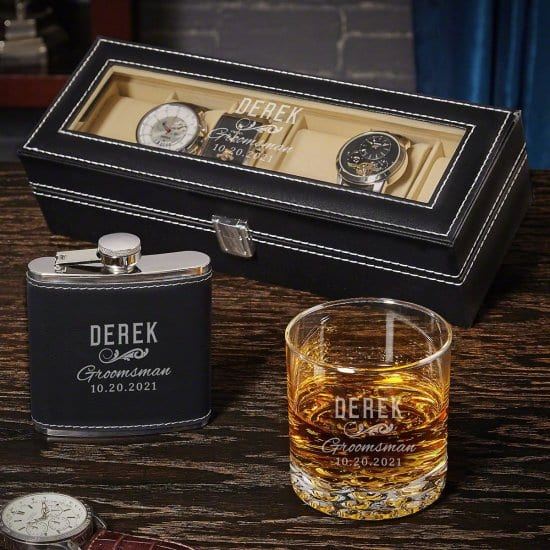 Watch Case, Flask, Whiskey Glass Engraved Groomsmen Gifts