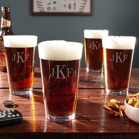 Monogrammed Set of Four Pint Glasses are Gifts for Seniors