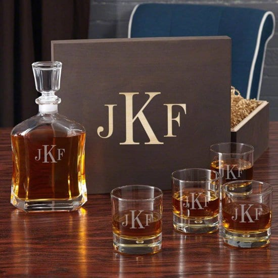 Monogrammed Liquor Decanter Box Set of First Year Wedding Anniversary Gifts for Husband
