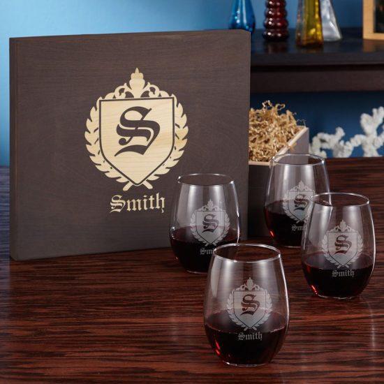 Engraved Stemless Wine Glass Box Set