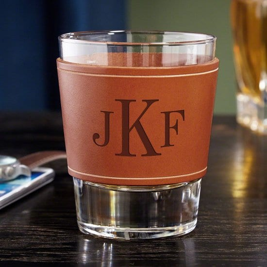 Monogrammed Leather Wrapped Rocks Glass