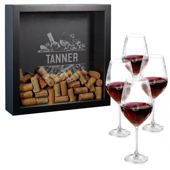Engraved Shadow Box and Wine Glass Set
