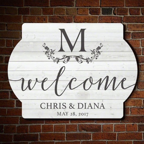 White Welcome Wedding Sign