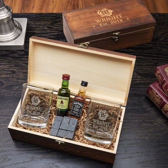 Engraved Whiskey Stone Box Set of Presents for Men