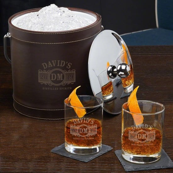 Engraved Ice Bucket and Old Fashioned Glasses
