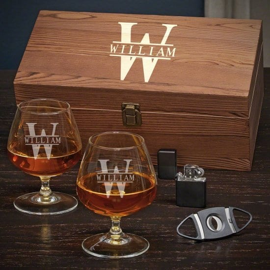 Engraved Cognac Glass Box Set with Cigar Accessories