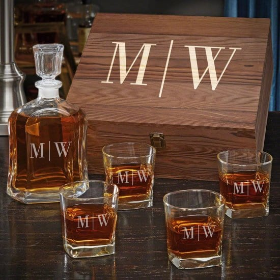 Personalized Whiskey Decanter Box Set with Glasses Wedding Gifts