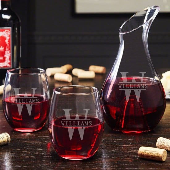 Engraved Wine Decanter and Stemless Glasses