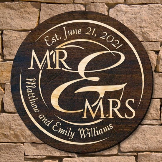 Round Mr. and Mrs. Custom Wedding Signs