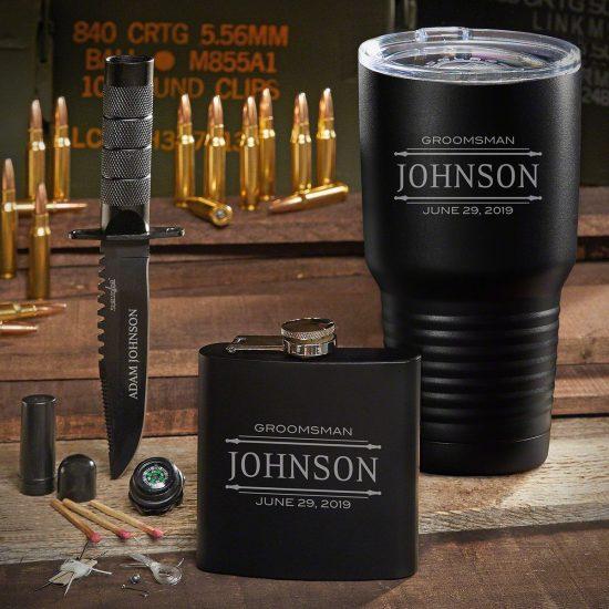 Custom Coffee Tumbler Flask Survival Knife