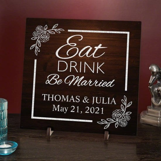 Eat Drink and Be Married Personalized Wood Wedding Signs