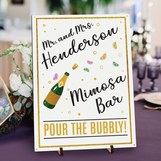 Custom Colored Mimosa Bar Sign