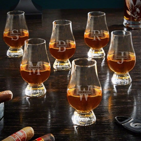Set of Six Personalized Glencairn Glasses Group Gifts