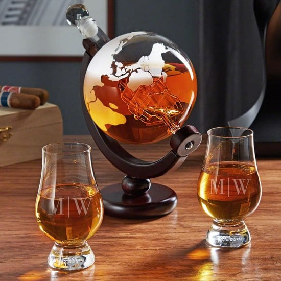 Initialed Glencairn Glasses and Globe Decanter