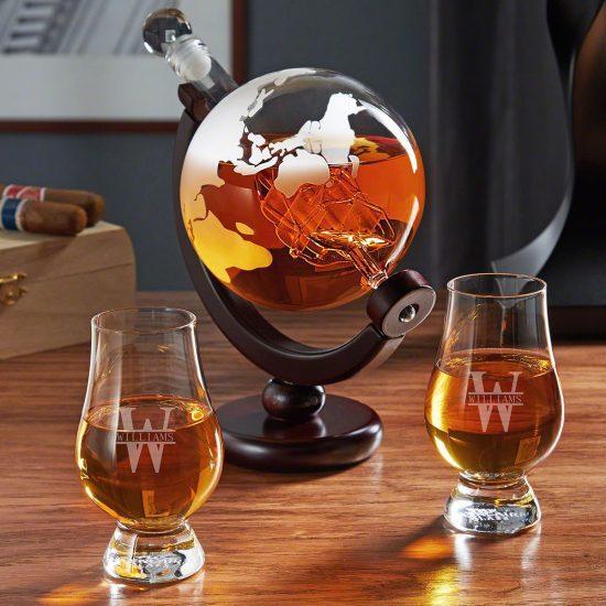 Engraved Globe Decanter Set with Glencairn Glasses