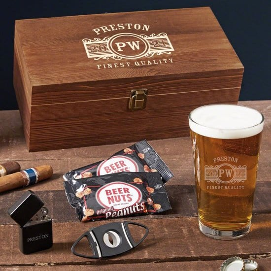 Men Gifts Box of Pint Glass and Cigar Accessories