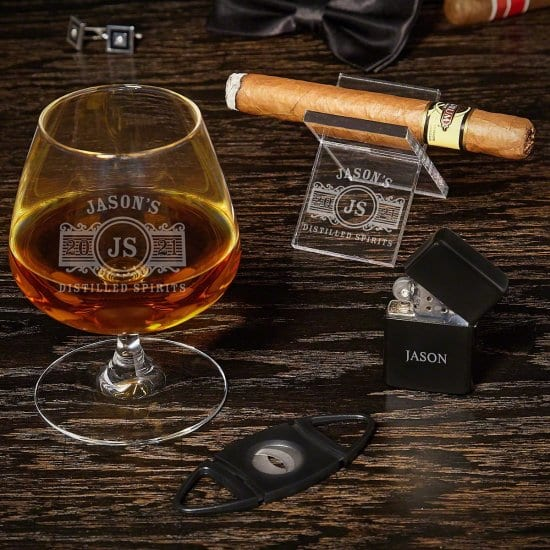 Personalized Cognac Glass and Cigar Accessories