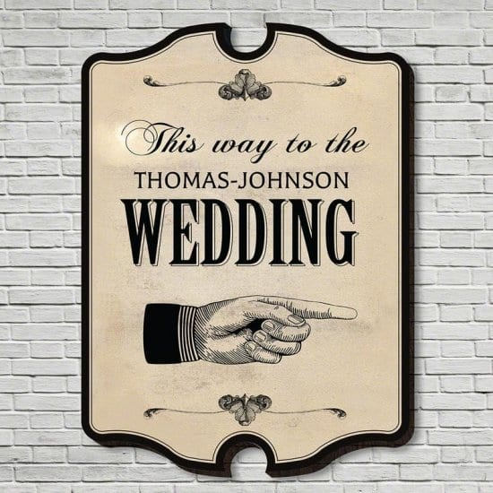 This Way to the Wedding Custom Sign
