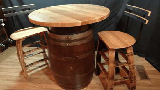 Whiskey and Wine Barrel Bar Table and Chairs