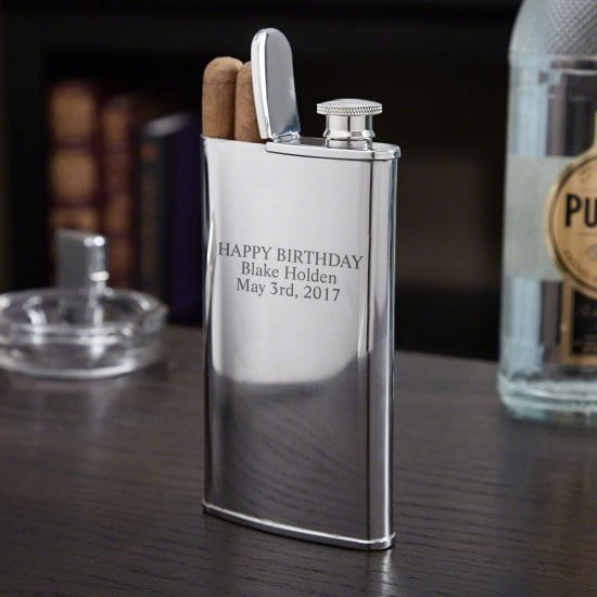 Engraved Cigars and Whiskey Flask