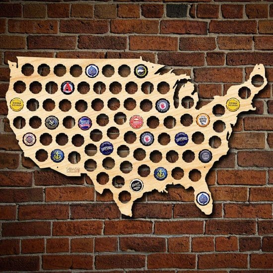 Beer Cap Maps are Valentines Gift for Him