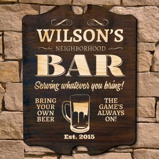 Personalized Wood Bar Sign