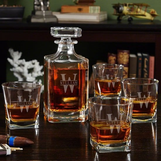 Engraved Whiskey Decanter and Glasses Set