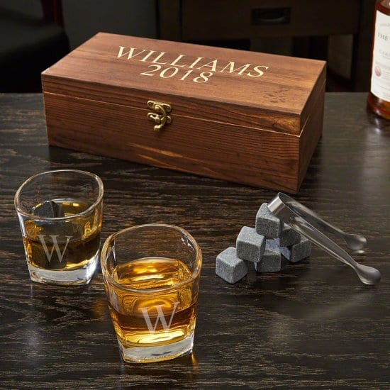 Engraved Box Set of Whiskey Stones and Glasses