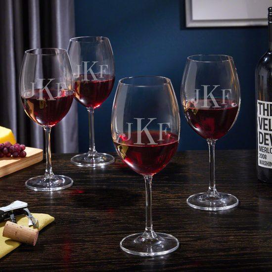 Monogrammed Wine Drinking Glasses Set