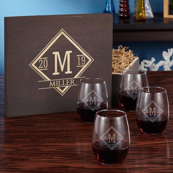 Engraved Stemless Wine Glass Gift Set