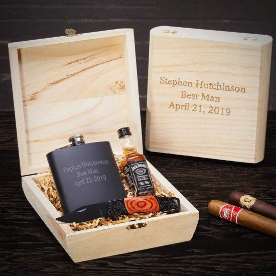 Customizable Flask and Knife Box Set