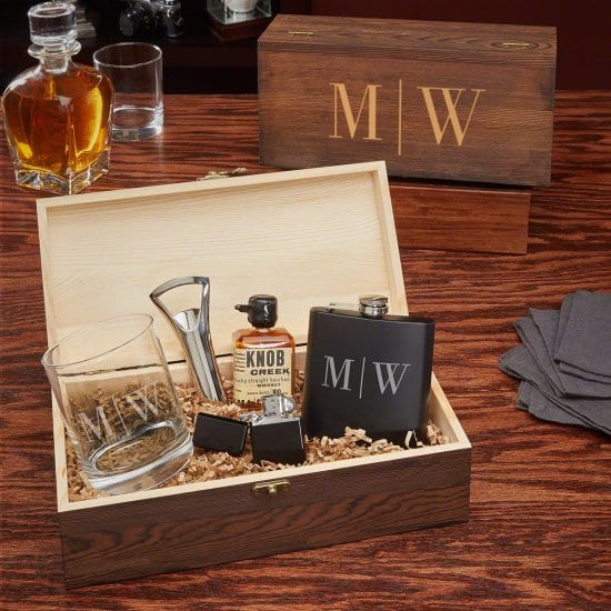 Flask and Cocktail Glass Box Set