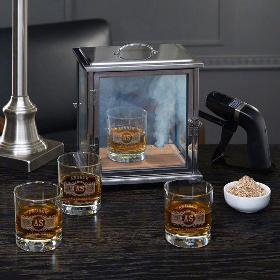 Smoke Box and Engraved Drinking Glasses Set