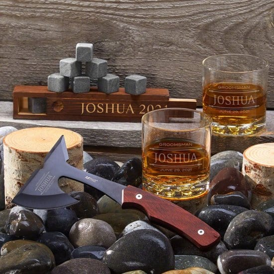 Personalized Whiskey Glasses and Hatchet Set of Great Gifts for Guy