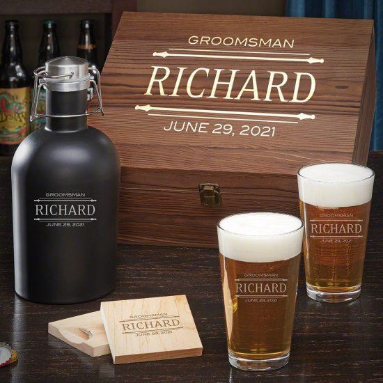 Engraved Beer Growler Gift Set