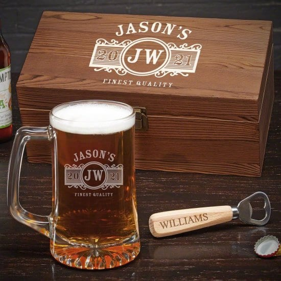 Custom Beer Mug with Bottle Opener and Gift Box