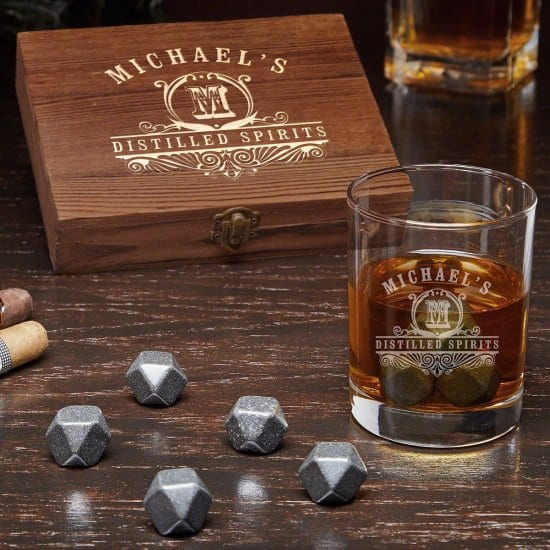 Personalized Whiskey Glass and Whiskey Stone Set