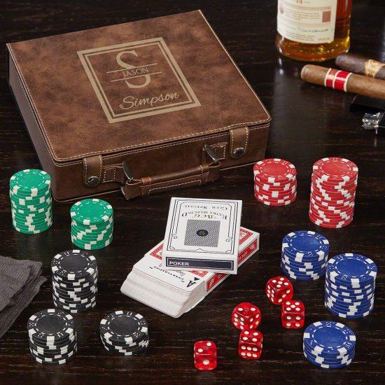 Custom Brown Leather Poker Chip Set