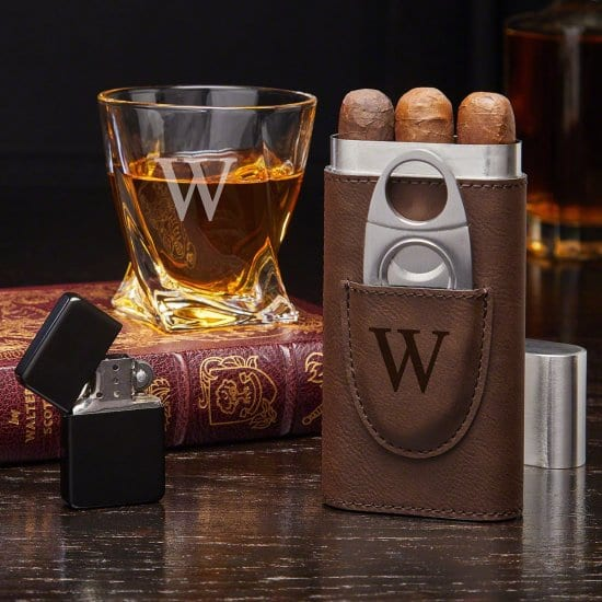 Engraved Whiskey Glass and Cigar Case Set