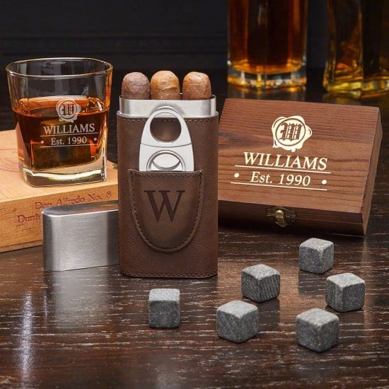 Personalized Whiskey Stone Set with Cigar Case