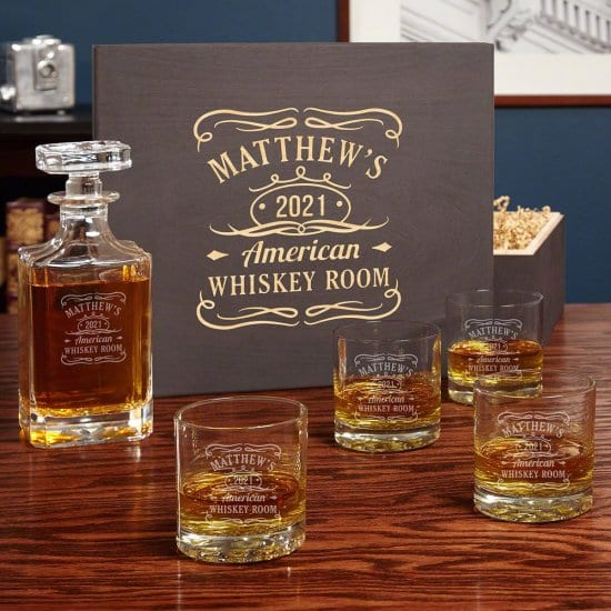 Personalized Whiskey Label Decanter Set