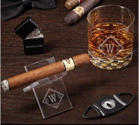 Custom Cigar and Whiskey Groom Gifts