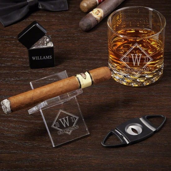 Whiskey Glass and Acrylic Cigar Holder