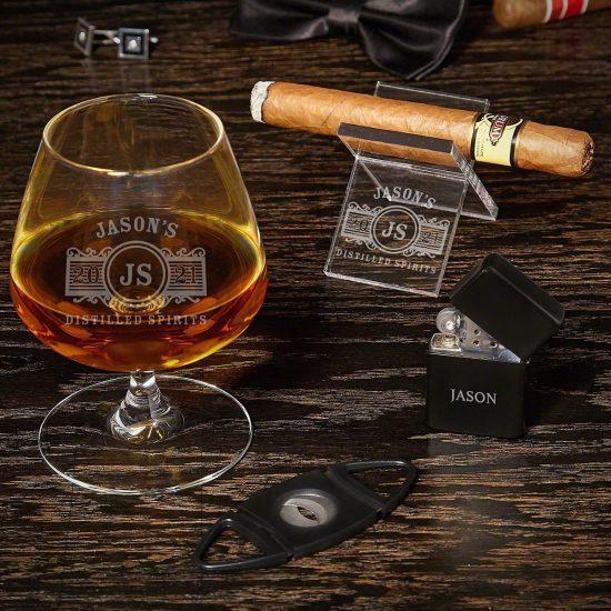 Engraved Cognac and Cigar Set