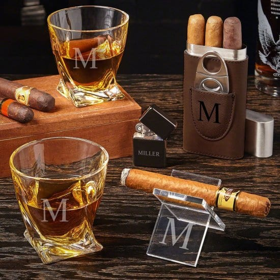 Customized Whiskey and Cigar Gift Set