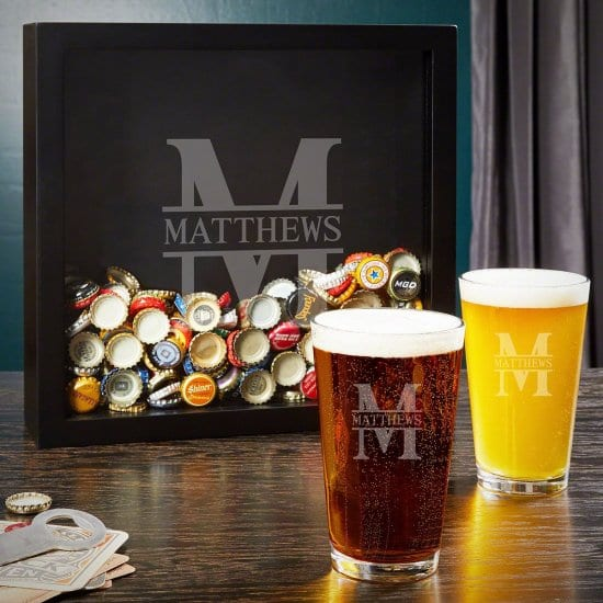 Personalized Shadow Box and Pint Glass Set