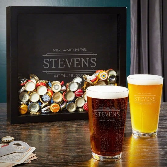 Custom Beer Glasses and Shadow Box